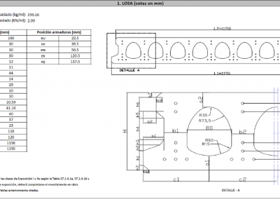 Sheets of Technical Specifications of concrete slabs