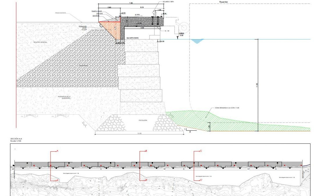 Proyecto de la adecuación de la viga cantil del muelle 11, Puerto de Alicante